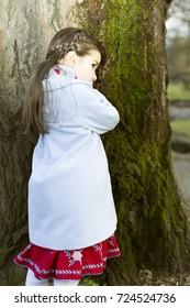 little caucasian girl   at beautiful autumn afternoon