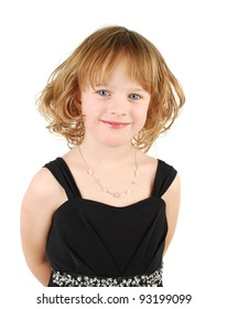Little cavcasian girl in elegant  evening dress  and hairstyle portrait isolated on the white background.