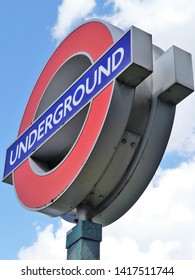 Little Chalfont, Buckinghamshire, England, UK - June 6th 2019: Iconic London Underground roundel sign