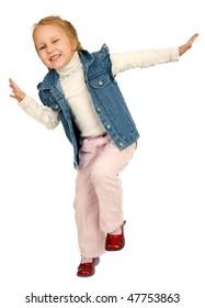Little charming girl against white background
