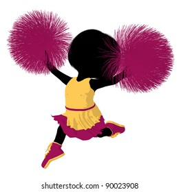 Little cheer girl on a white background