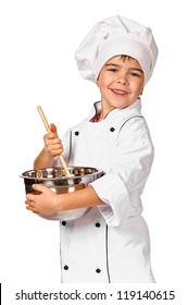 Little chef preparing healthy meal. Isolated