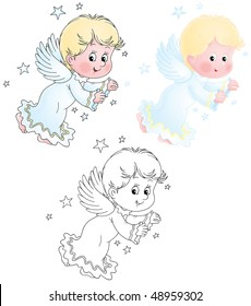 Little Cherub (black-and-white and color illustrations)