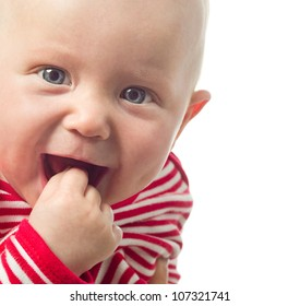 little child baby smiling closeup portrait isolated on white studio shot face positive happy
