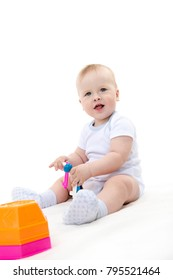 little child baby smiling  isolated on white studio shot  happy playing