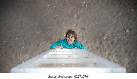 little child climbing stairs