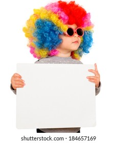 Little child with clown wig holding white blank board,isolated