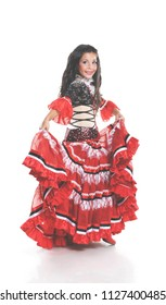 Little child dancing spanish dance. Small girl in red costume