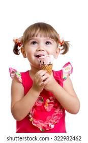 little child girl with ice cream in studio isolated