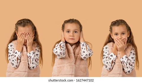 little child girl on beige background. I see nothing, hear nothing, nothing will not tell anyone