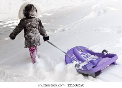 Little child girl pulling his sled in the winter time
