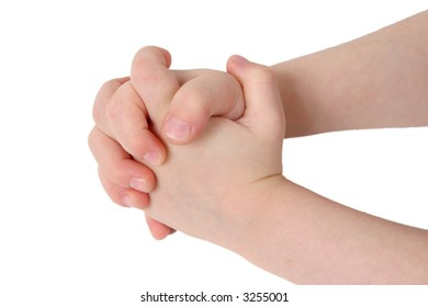 Little child hand with hands together on white background