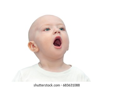 little child has open from surprise of mouth.  small beautiful child boy shock looking