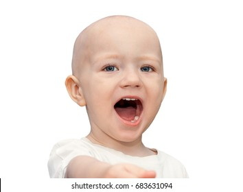 little child has open from surprise of mouth.  small beautiful child boy shock looking.