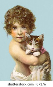 Little child holding a cat - a vintage (