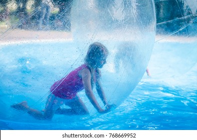 Little child inside the inflatable ball floating on water in swimming pool