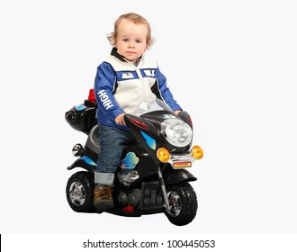 Little child on motorcycle