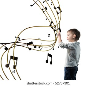 little child play with virtual music