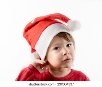 Little child with Santa hat isolated on white background
