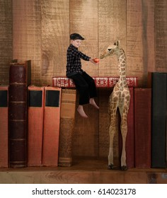 A little child is sitting on top of old books feeding an apple to a giraffe for a story, imagination or creativity concept.