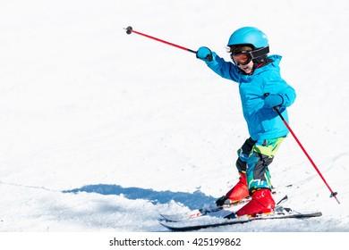 Little child skiing