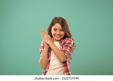 Little child smile excited with new idea stand over blue background. This is the point. Idea solution. Girl cute cheerful face found out important idea. Little girl long hair got bright idea.
