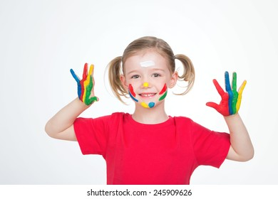 little child with stain of paint