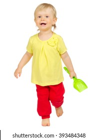Little child with toy isolated