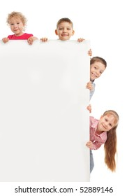 Little children with blank isolated on white