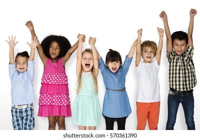 Little Children Friends Hands Up