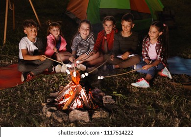 Little children frying marshmallows on bonfire at night. Summer camp