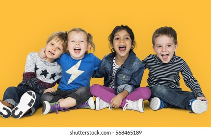 Little Children Having Fun Smiling Cheerful