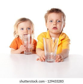 Little children hold glass