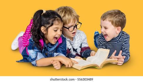 Little Children Reading Book Cheerful