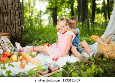 little children resting and eating in park on picnic. Happiness summer weekend concept. Happy little Brother and the sister play outdoors.
