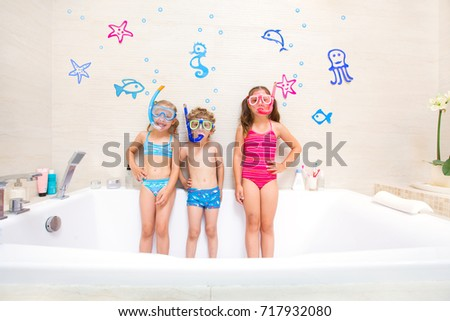 5f144ce4b29d2 Little Children Swimsuits Play Bathroom Like Stock Photo (Edit Now ...