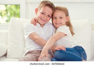 Little children together at home