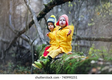 Little children are walking in the autumn park in the fall of leaves