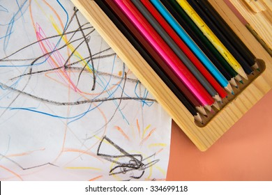 Little child's drawing, creativity in childhood concept