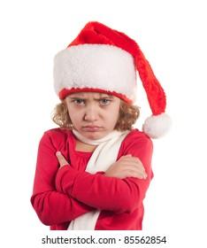 Little christmas girl wearing Santa hat. Isolated on white background.