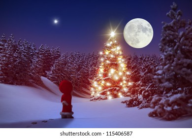 Little Christmas Gnome in front of an illuminated Christmas tree inside snowy forest 3D
