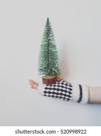 little christmas tree with kid hand