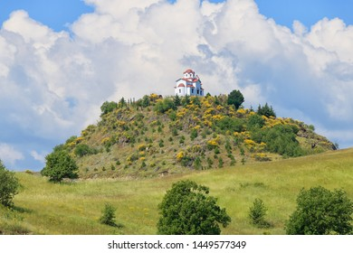 Little church of Prophet Elijah on the top oh the hill near Kalabaka, Greece, Meteora