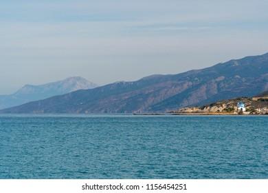 little church at the sea side of greek island ikaria.