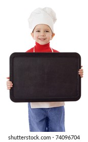 Little cooker with empty horizontal chalkboard, isolated on white