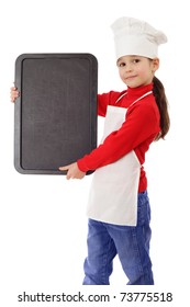 Little cooker with empty vertical chalkboard, isolated on white