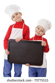 Little cookers with empty horizontal chalkboard, isolated on white