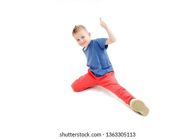 Little cool hip-hop boy and dance showing ok sign.  Isolated on white background