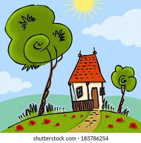 Little Cottage and Trees Landscape - Abstract Simple Illustration