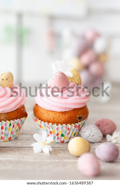 Little cupcakes with pink frosting for easter